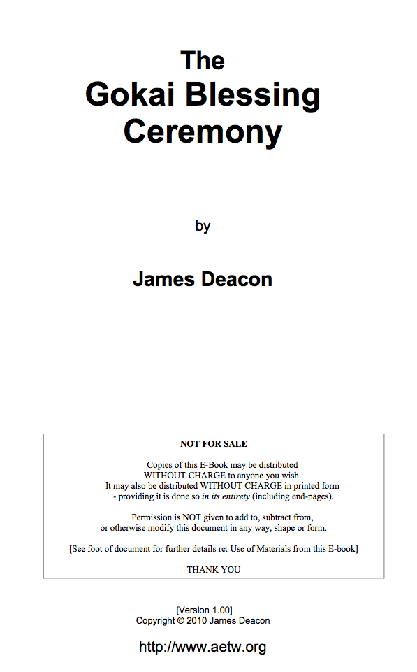 The Gokai Blessing Ceremony-James Deacon