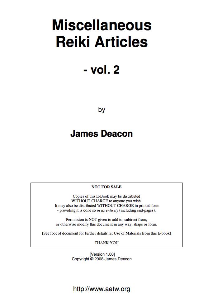 Miscellaneous Reiki Articles - Vol. 2-James Deacon