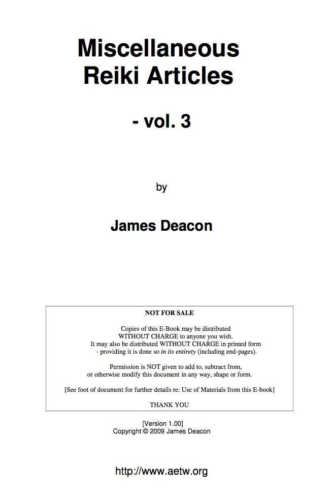 Miscellaneous Reiki Articles - Vol. 3-James Deacon