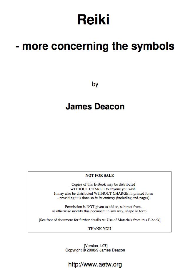 Reiki - More Concerning the Symbols-James Deacon