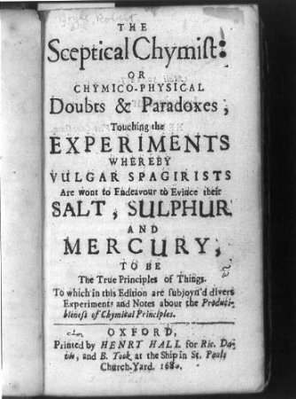 The Sceptical Chymist-Robert Boyle